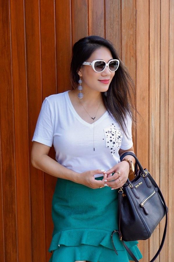 Green ruffle skirt, Edgy fashion style, Classy fashion style, Women's fashion style, Fashion outfits, Fashion style tips, Boho fashion style