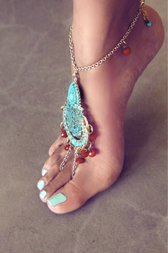Boho accessories, Barefoot sandals, Ankle chain, Boho fashion, Coachella style, Coachella accessories, Coachella fashion, Coachella jewelry