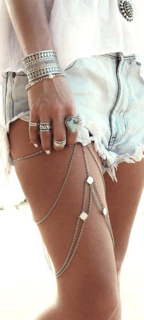 Coachella style jewellery, Coachella accessories, Boho fashion, leg chain, music festival jewlery