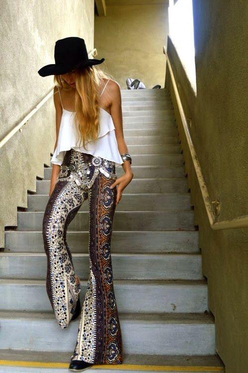 Bell bottoms, patterned pants, Boho fashion, Boho pants, gypsy pants, Coachella style, Coachella accessories, Coachella looks, Coachella fashions