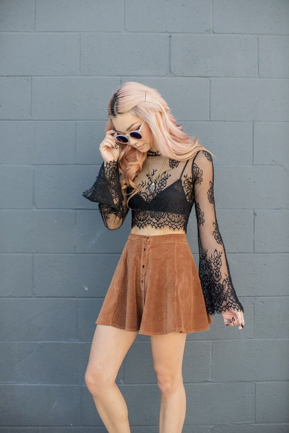 Sheer blouse, lace top, Coachella style, Boho fashion, Coachella accessories, Coachella looks, Coachella fashions