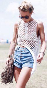 Cropped top, Macrame top, Knitted top, gypsy top, Coachella style, Coachella accessories, Coachella looks, Coachella fashions