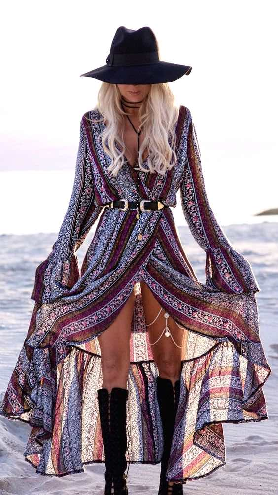 Long boho dress, Boho fashion, Coachella style, Coachella dress, Long slit dress, Gypsy dress, Festival look, Coachella fashion