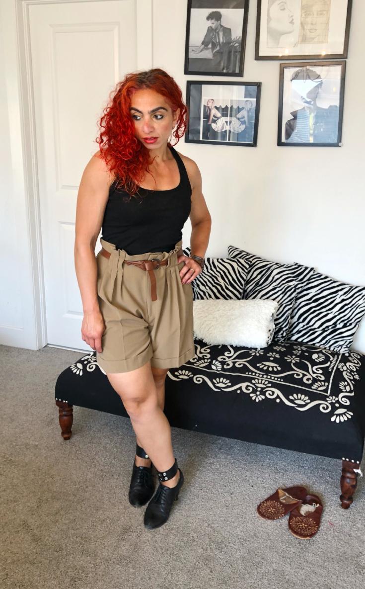 Black heels with DIY ankle strap