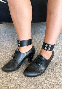 Black heels with DIY ankle strap_close-up