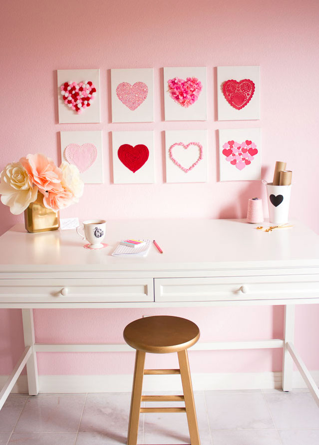 DIY Heart canvas Valentine's Day decor