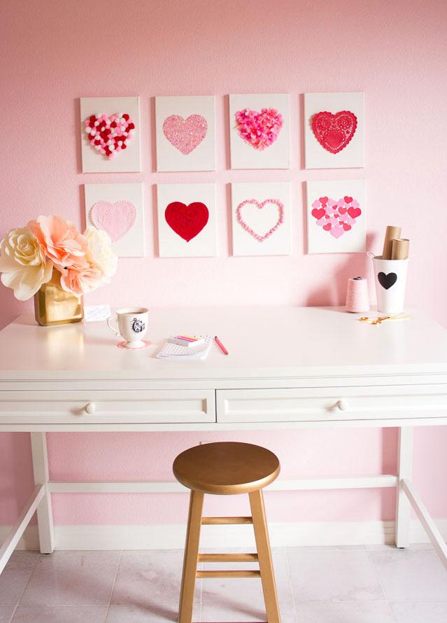 DIY Heart canvas Valentine's Day decor