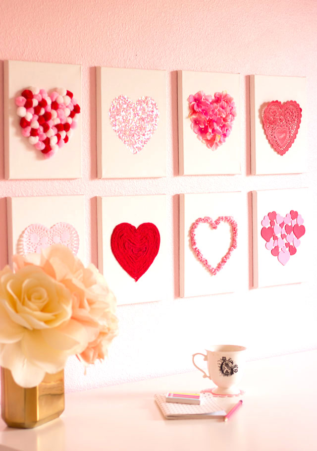 DIY Heart canvas Valentine's Day wall decor