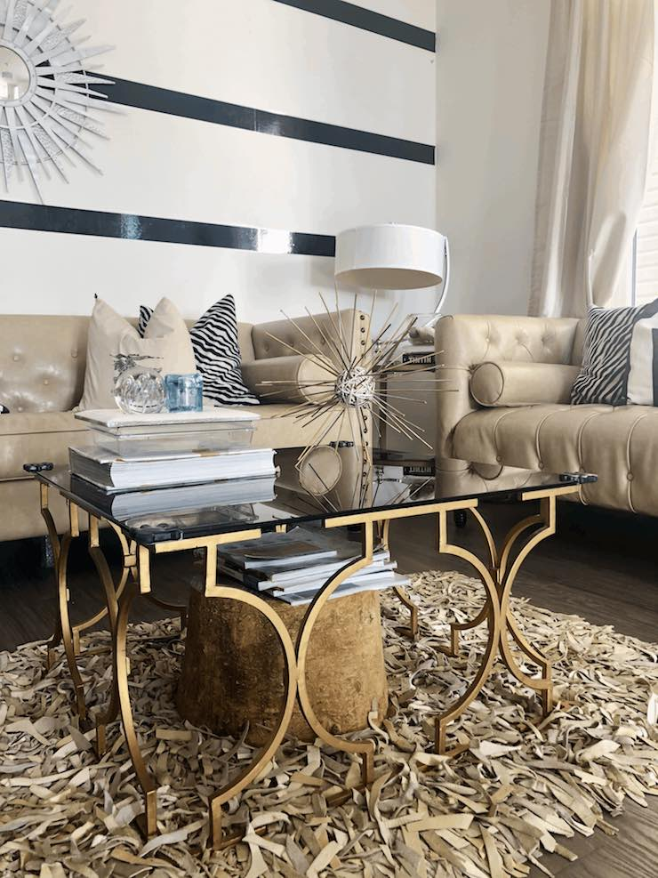 DIY Sea urchin in modern beige living room with gold accents