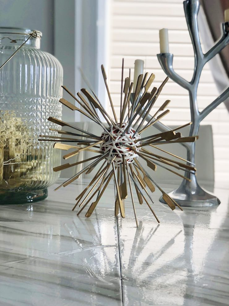 DIY Sea urchin on dining room table closeup