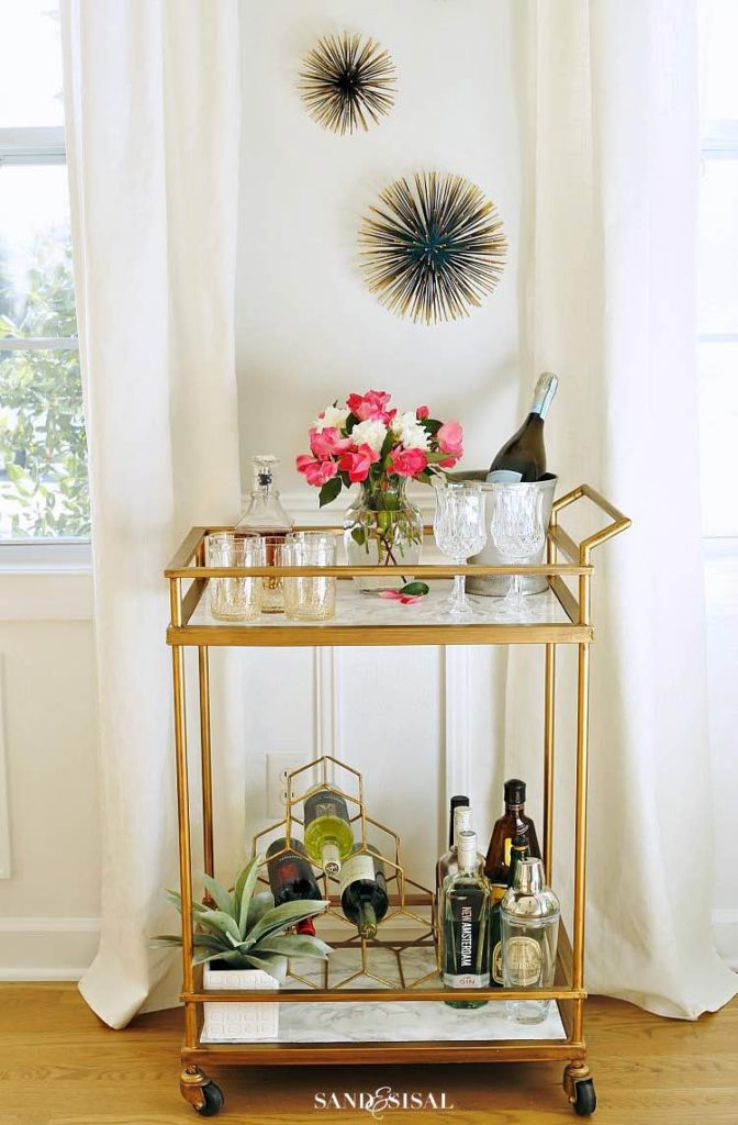DIY bar cart, Marble contact paper, Adhesive contact paper