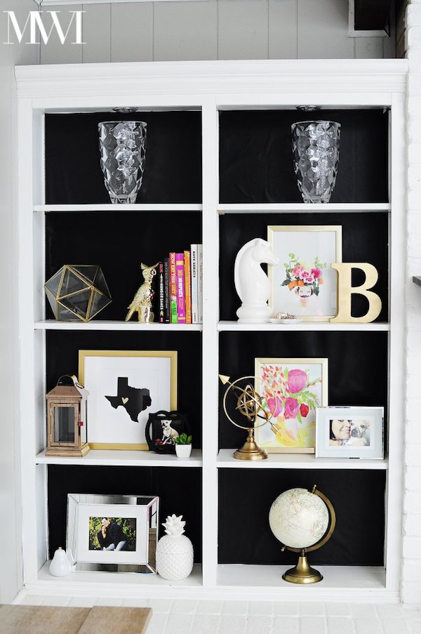DIY contact paper bookcase, Black contact paper, Adhesive contact paper