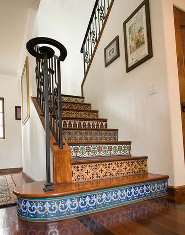 DIY contact paper stair risers, Blue mosaic contact paper, Adhesive contact paper