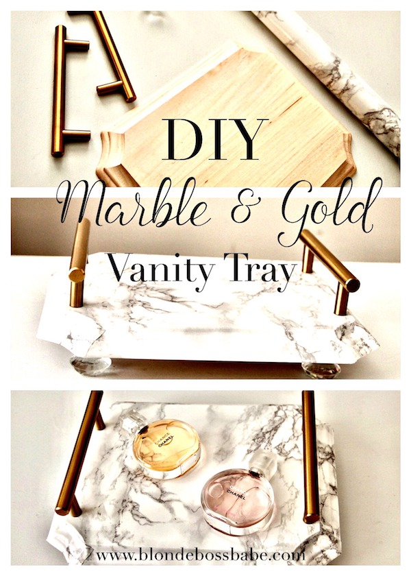 DIY marble and gold tray, Marble contact paper tray tutorial, Adhesive contact paper