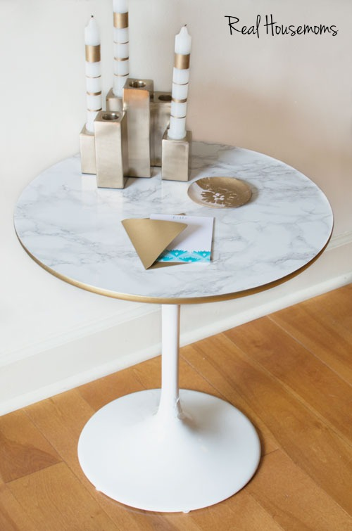 DIY contact paper table, Marble contact paper, Adhesive contact paper