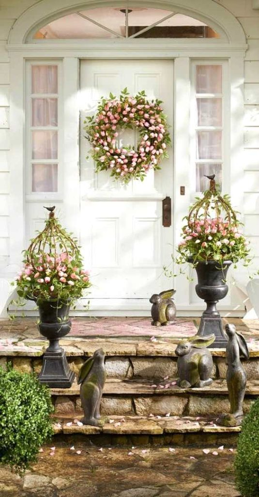 Easter decoration ideas, Spring decor, tulip wreath, tulip planters