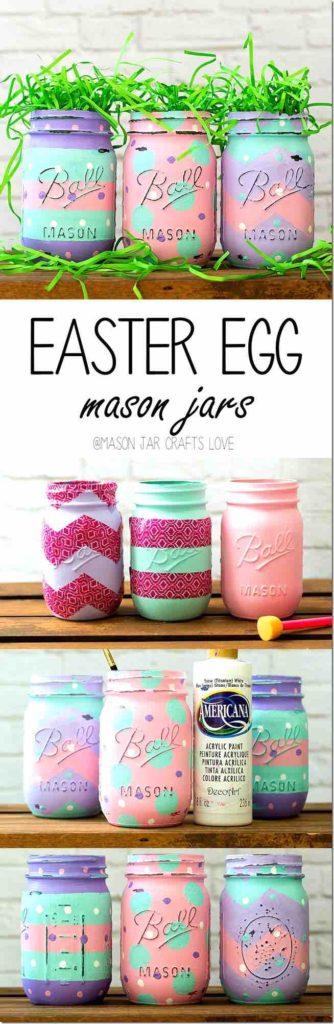 Easter egg Mason jar, Easter decoration ideas, Easter decor DIY Easter decor