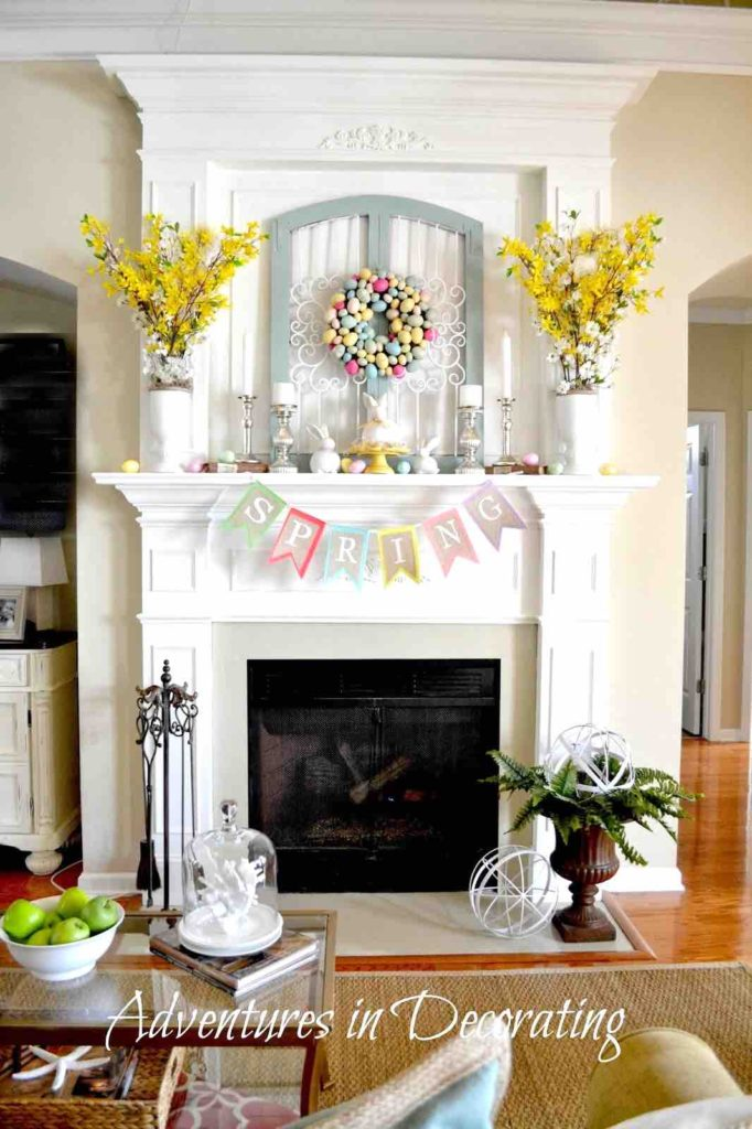 Easter decor ideas, Easter mantle decor, Mantle wreath, Mantle decor