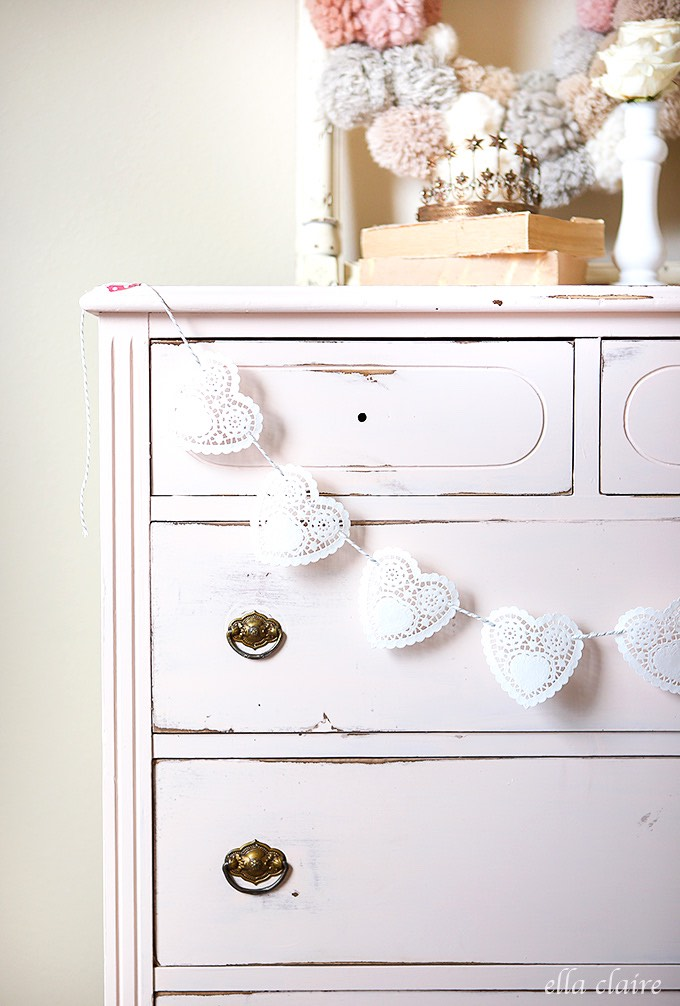 Valentine's Day doily heart garland
