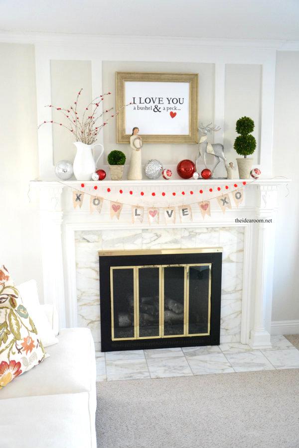 Valentine's day mantle decor