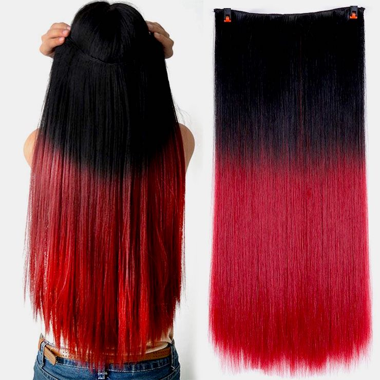 Synthetic ombre red and black hair extensions