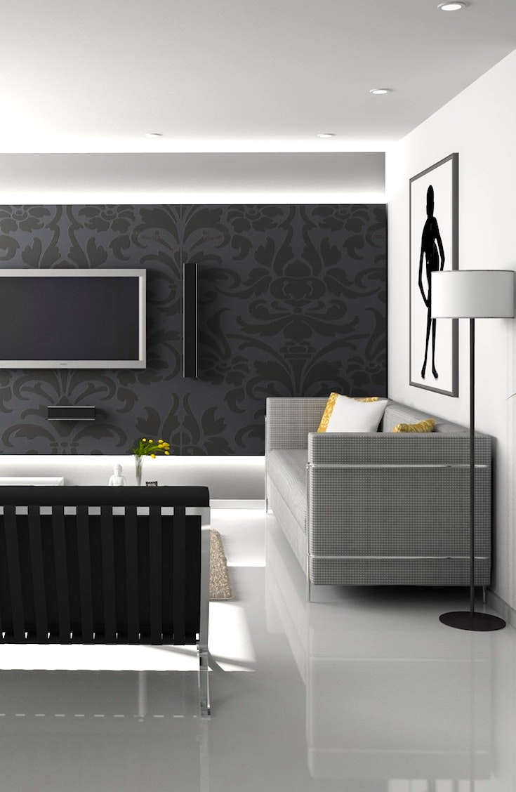 Black feature wall in living room