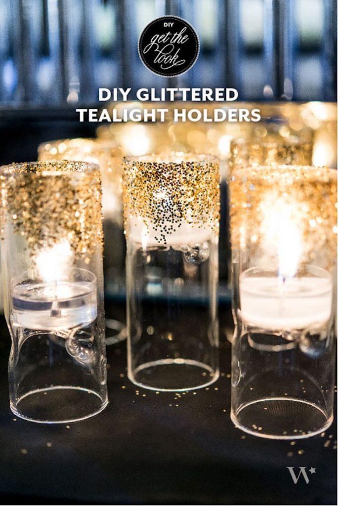Glitter tealight holders, Wedding decoration ideas, Wedding decorations on a budget, DIY Wedding decorations, Rustic Wedding decorations, Fall Wedding decorations