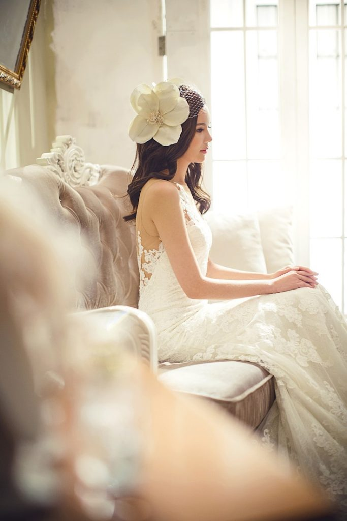 wedding night woman in wedding dress sitting