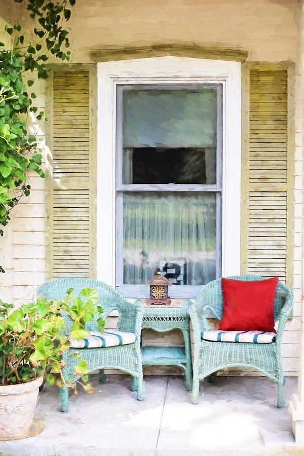 Country porch sitting area