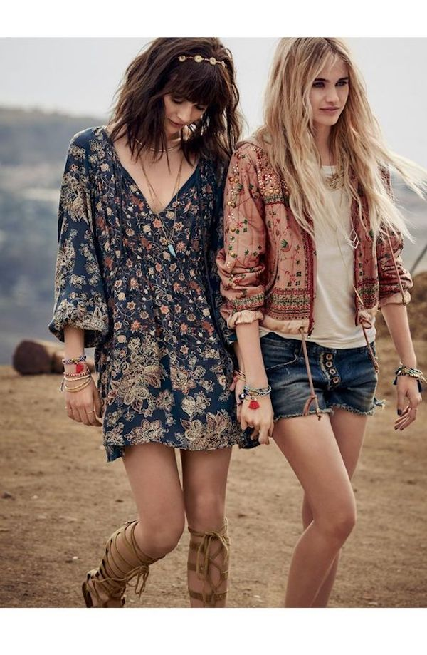 Floral dress and jacket, Coachella fashion