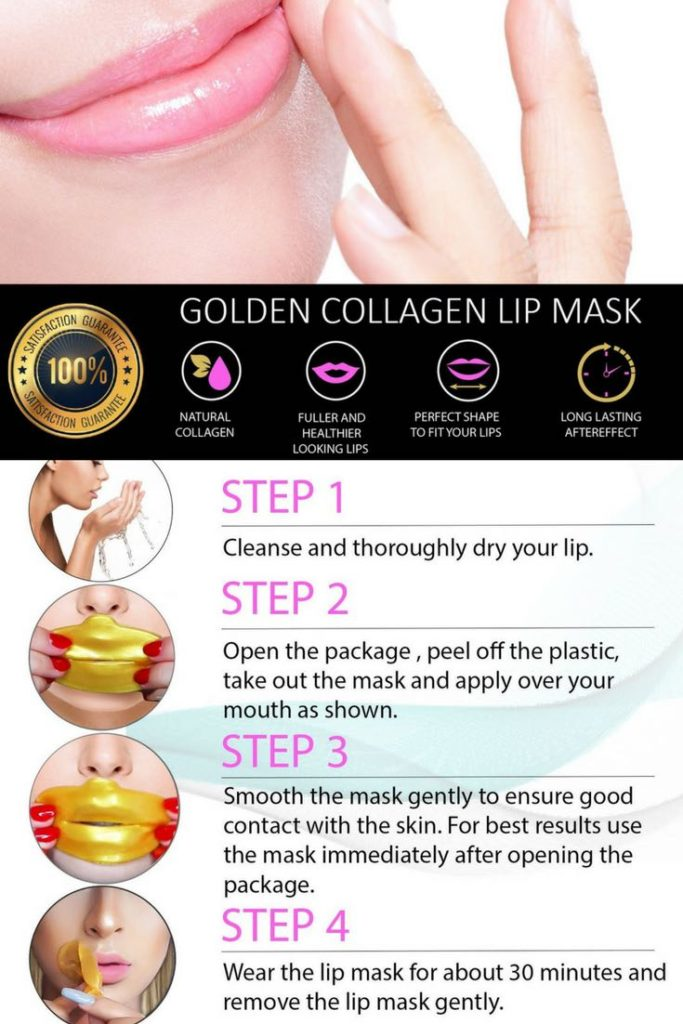 Gold collagen lip plumper mask, 4 steps to applying mask