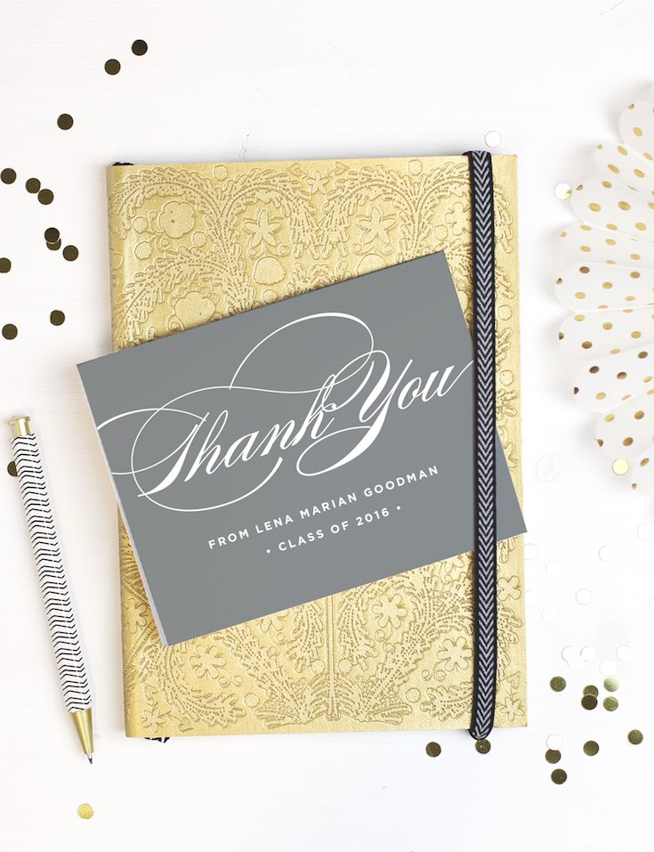 Graduation grey thank you note