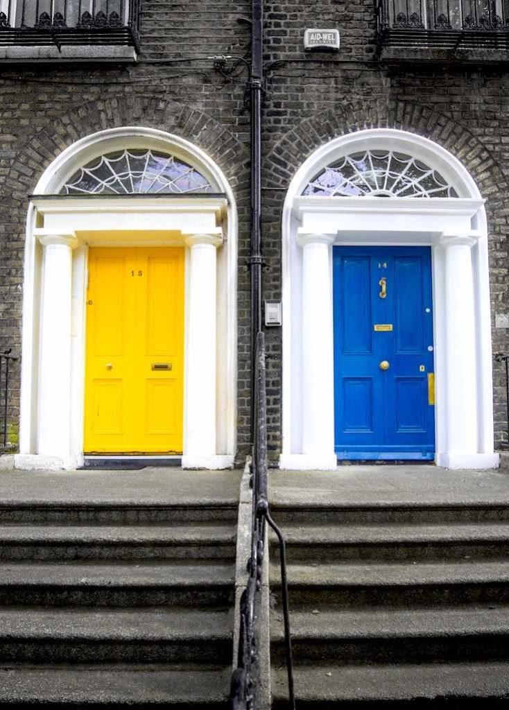Home security door, home safe blue and yellow doors