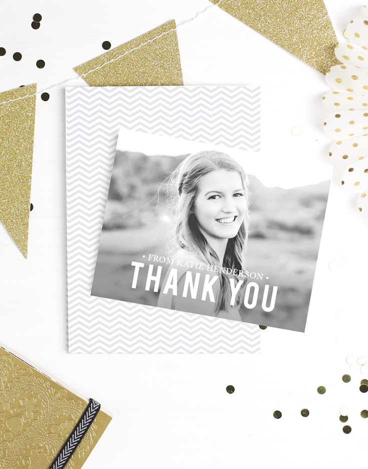Photo graduation thank you card black and white