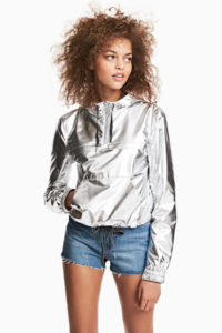 Silver hooded jacket with denim shorts, Coachella Fashion