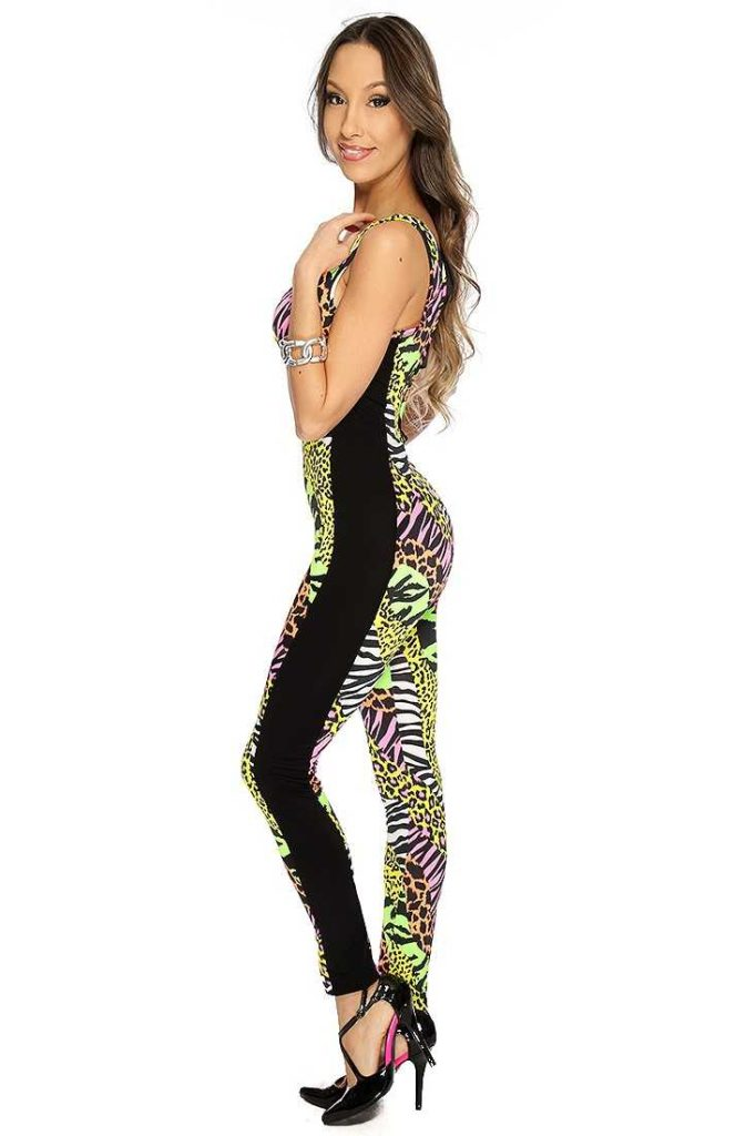 women jumpsuit in yellow black animal print bodycon