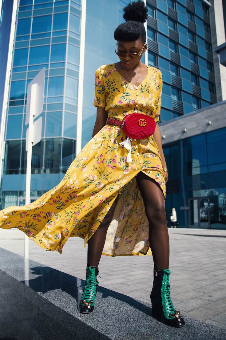 Floral summer dress with boots