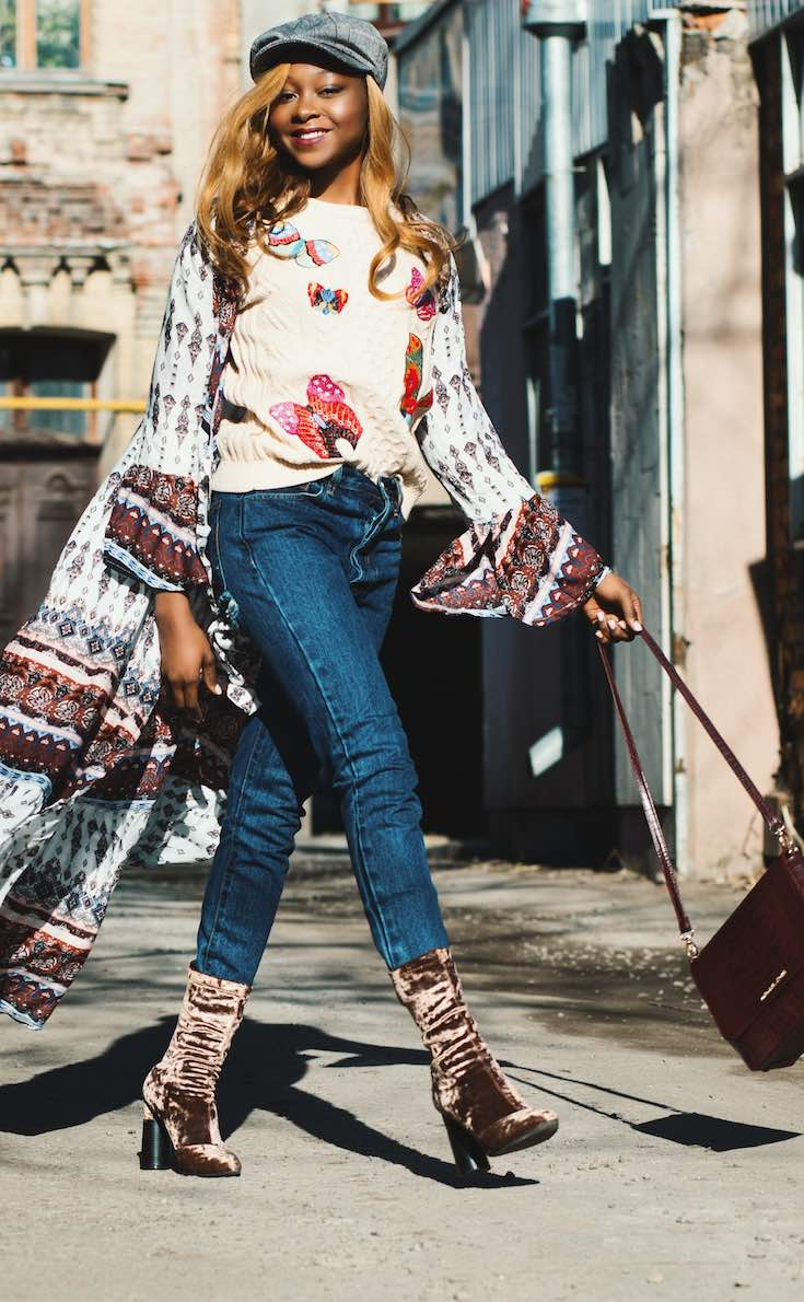 Jeans and sweater with long cardigan and velvet fashion boots
