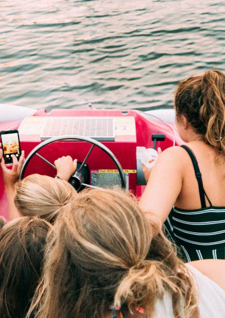 Friends taking selfie on a boat