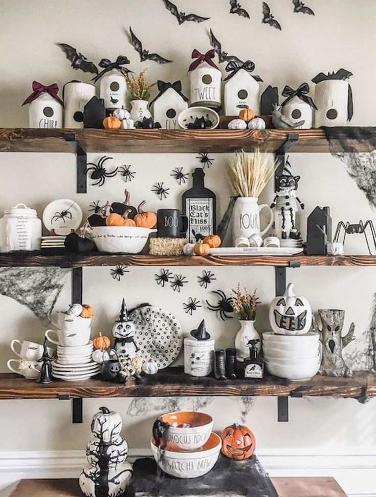 Halloween kitchen shleves decor ideas