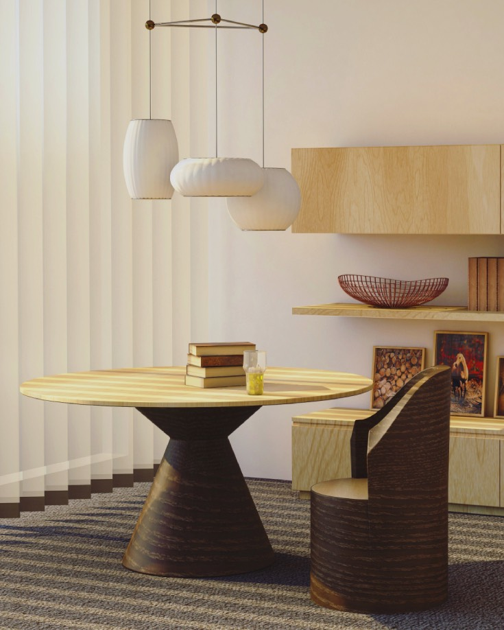 Wooden dining room with carpet