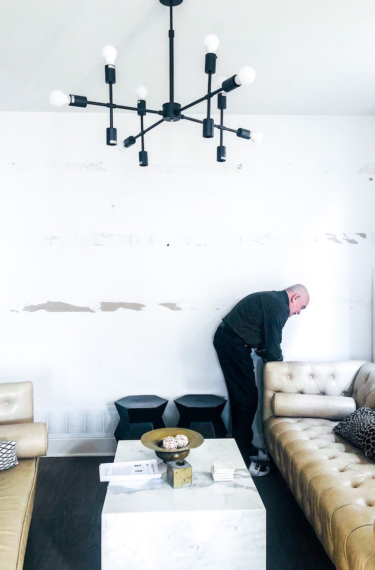 Unfinished living room wall