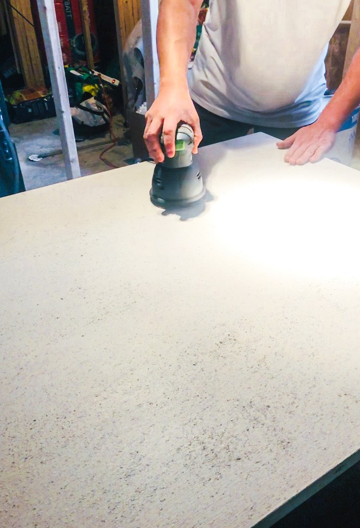Smoothing table surface after stone application