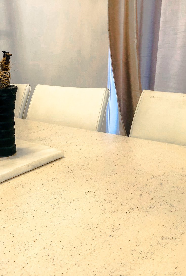 Stone coated dining room table