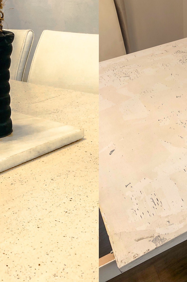 Stone coated table before and after