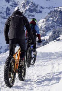 Winter snow biking
