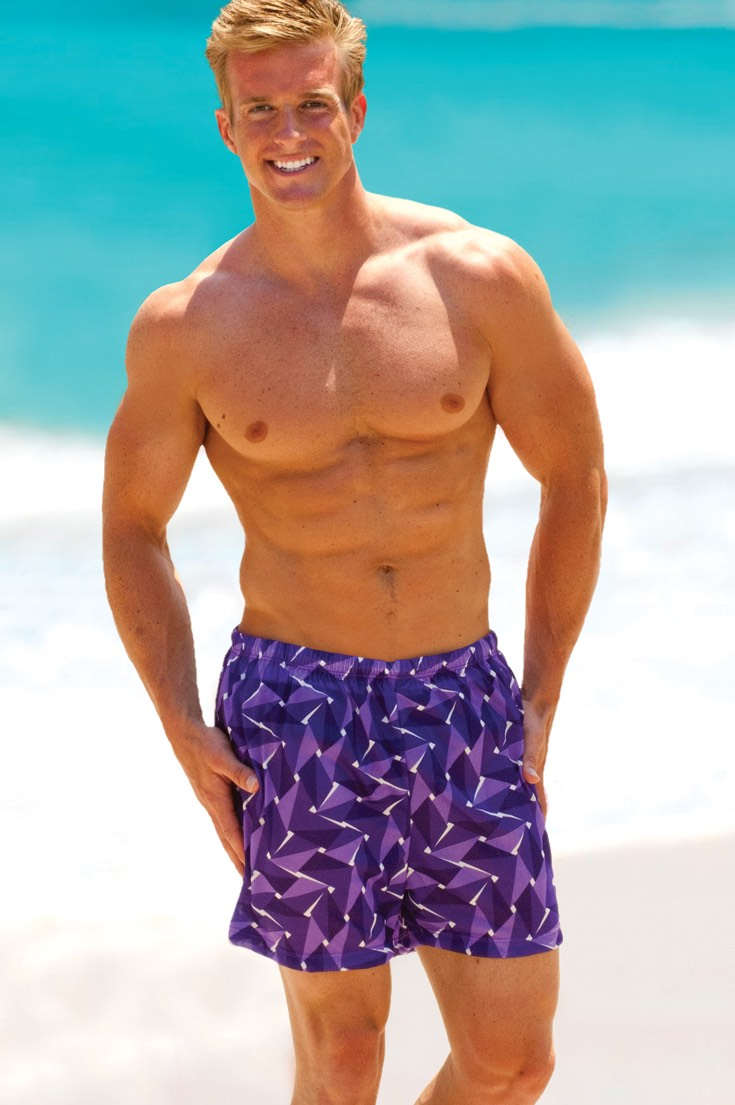 Mens swim trunks in purple
