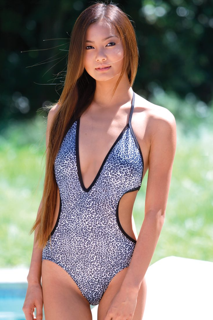 Womens hot swimwear white leopard print