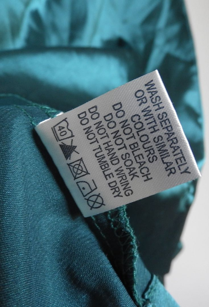 Washing care label inside garment