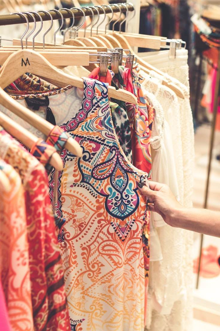 Designer clothing, clothes on a rack